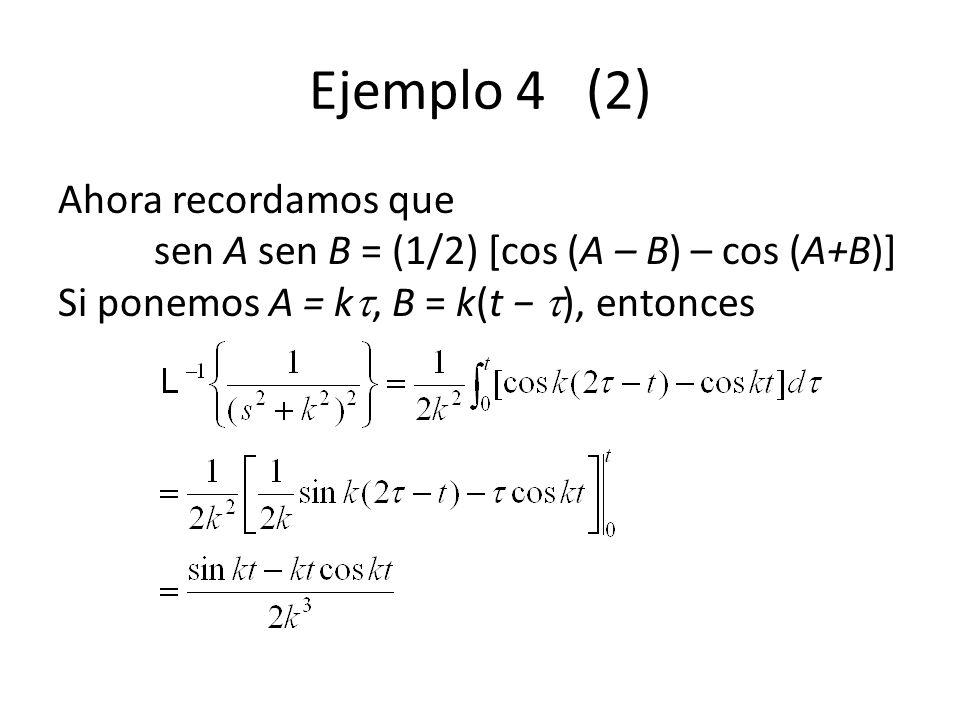 Ejemplo 4 (2) Ahora recordamos que sen A sen B = (1/2) [cos (A – B) – cos (A+B)] Si ponemos A = k, B = k(t − ), entonces.